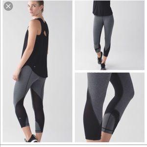 Lululemon Grey & Black Stripe Inspire Crop, Size 6